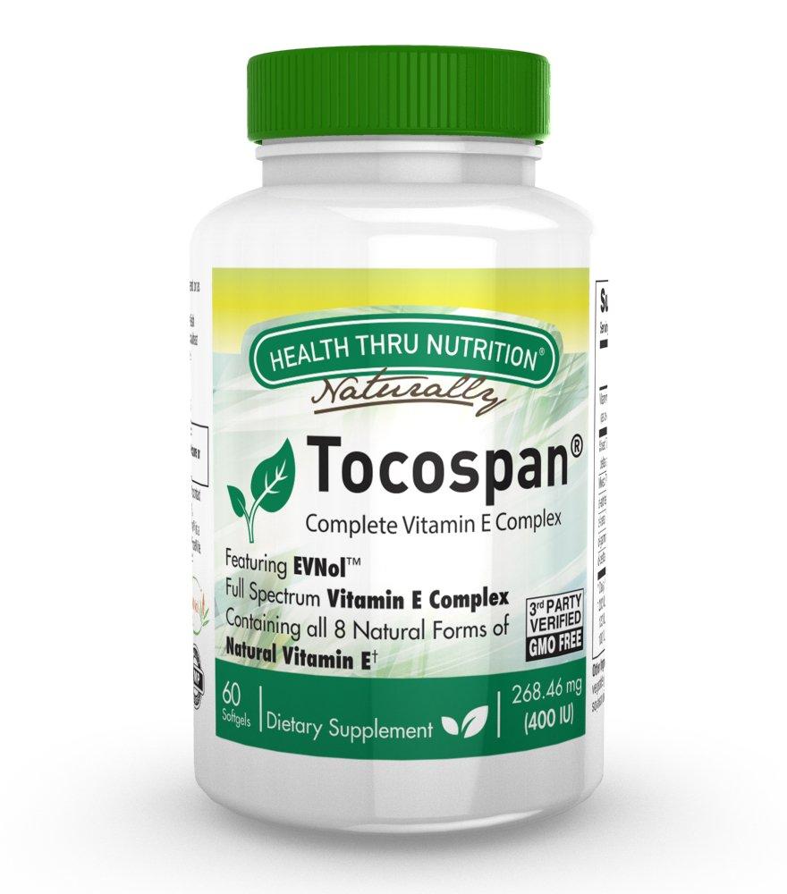 Tocospan Vitamin-E (feat. EVNOL™ Tocotrienols) 400 IU Full Spectrum Tocotrienols and Tocopherols Complex (8 Natural Forms of Vitamin E) 60 softgels