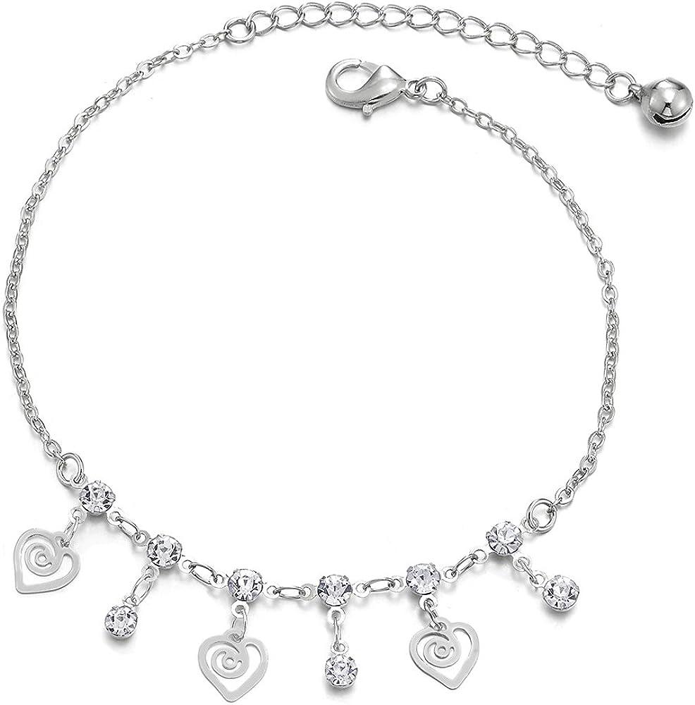 Zircone Cubique et Grelot COOLSTEELANDBEYOND Femme Cha/îne Maillons Bracelets de Cheville avec Tourbillon Coeur Charms