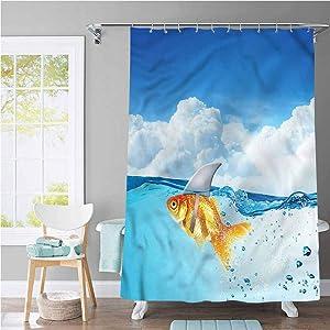 Shark Extra Long Shower Curtain Goldfish with Shark Fin Printing Bathroom Decor 36 x 72 Inch