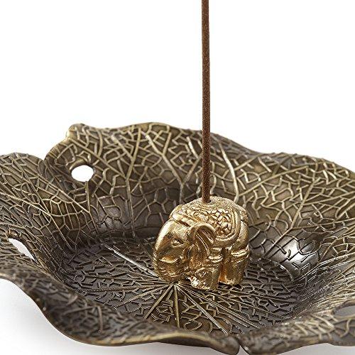 MEDOOSKY Incense Holder Burner Copper Elephant & Lotus(Stick/Cone Incense)