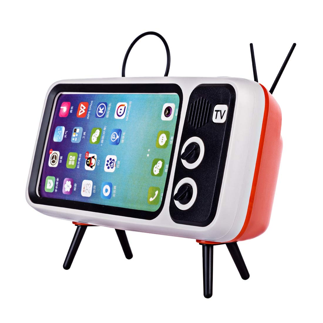 Goshfun PTH800 Retro TV Shape Mobile Phone Holder, Table Cell Phone Accessories, Desktop Mobile Phone Stand for Phones with 4.7-5.5 Inch Screen, Orange by Goshfun