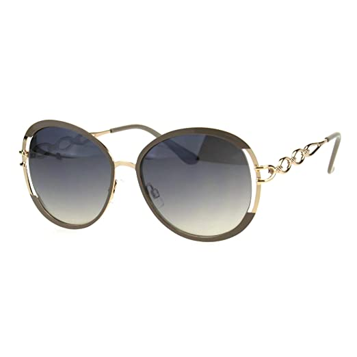18d73cf3394 Womens Luxury Metal Chain Arm Round Diva Fashion Butterfly Sunglasses Beige  Gold Smoke
