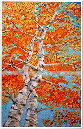 Xunzhaoyh Peinture à L Huile Sur Toile Rouge Vif Solide