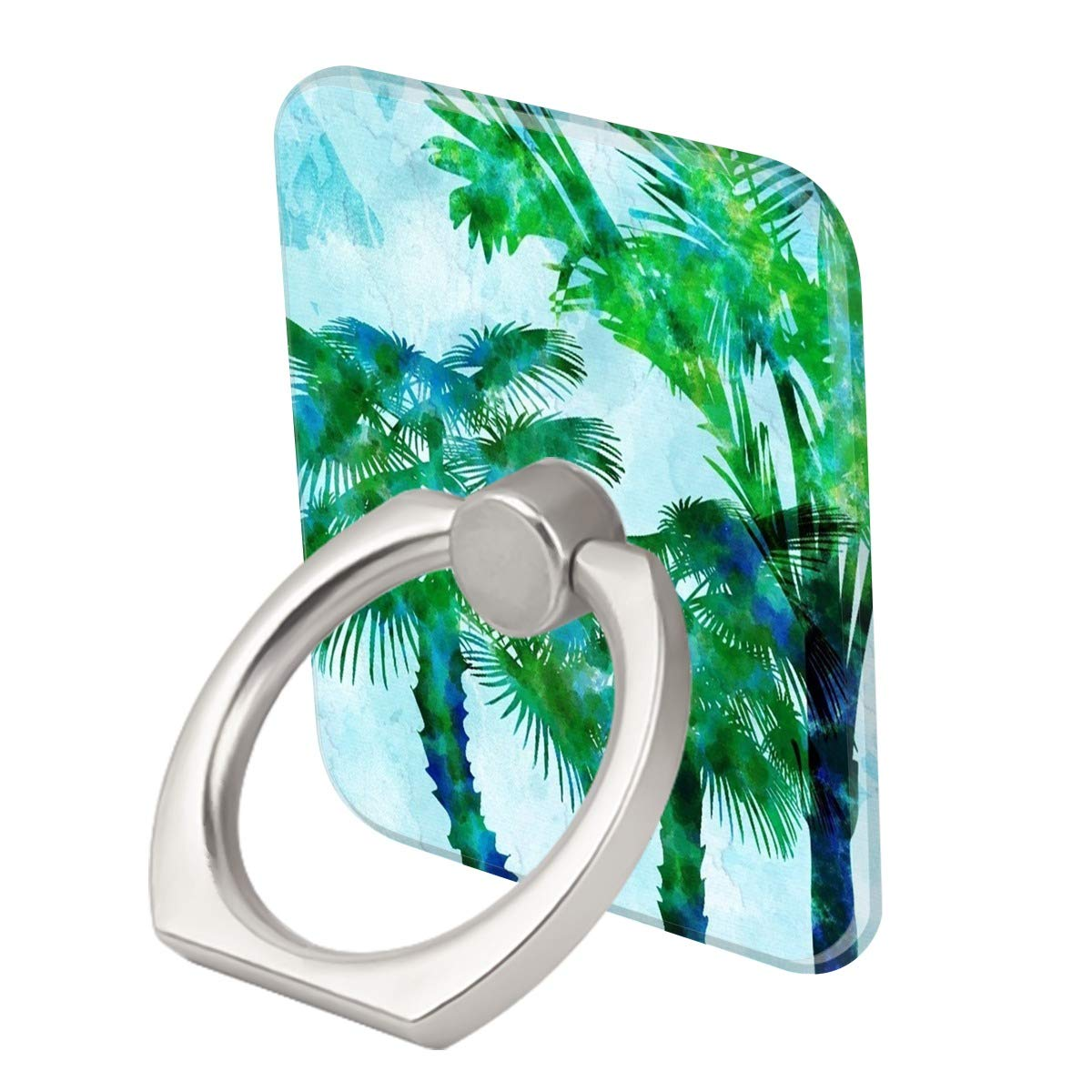 Watercolor Painting Palm Tree Ring Phone Holder Stand Mounts for iPhone iPad, Samsung Other Smartphones
