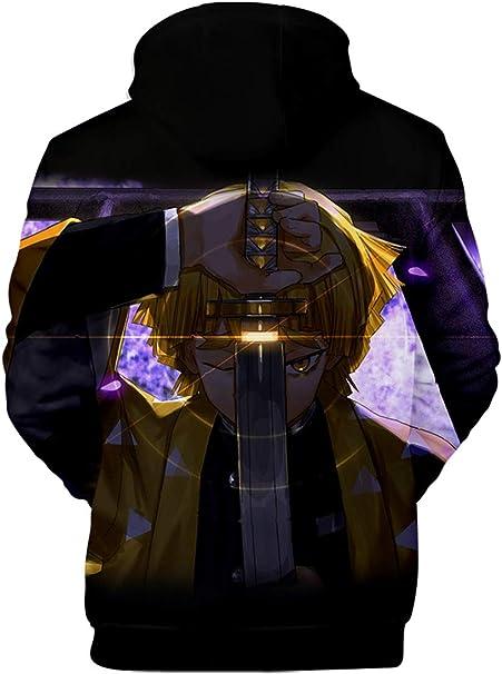 PANOZON Damska 3D Print Demon Slayer Cosplay Pullover Unisex Kimetsu no Yaiba Hoodie: Odzież