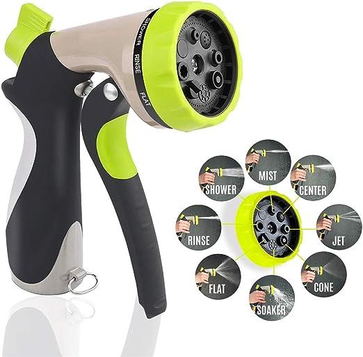 Pistola pulverizadora de manguera de jardín con boquilla más grande mejorada, duradera y resistente pistola de regado de mano de metal en 8 patrones, para lavado de coche y mascota: Amazon.es: Jardín