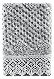 Five Queens Court Sonia Woven Jacquard Cotton Fingertip Towel, Shabby Chic Style, Silver