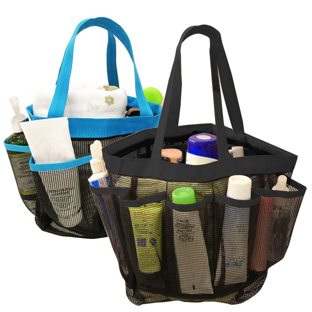 DanziX 2 Pack Portable Mesh Shower Caddy, Quick Dry Shower Tote Bag Hanging Toiletry Bath Organizer with 8 Storage Compartments for Shampoo, Soap and Other Bathroom Accessories - Black, Blue
