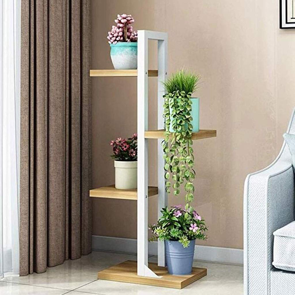 Metal Flower Stand Flower Stand 4th Floor Iron Multilayer Indoor Landing Space Saving Space Flowered Shelf Living Flower Pot Holder (Color : White) by Ganxie