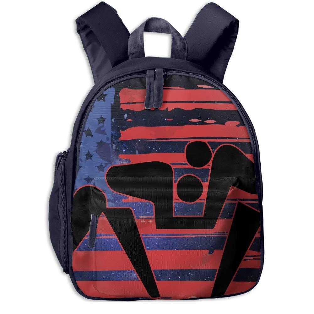 US American Flag Wrestling Children's Lightweight Canvas Travel Backpacks School Book Bag