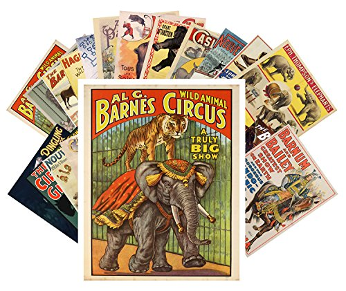 Postcard Pack 24pcs Vintage Circus Animals and Horses Vintage Posters -