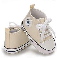 Frobukio Zapatillas de lona para recién nacido, suela suave, antideslizante, para primeros caminantes, para bebés