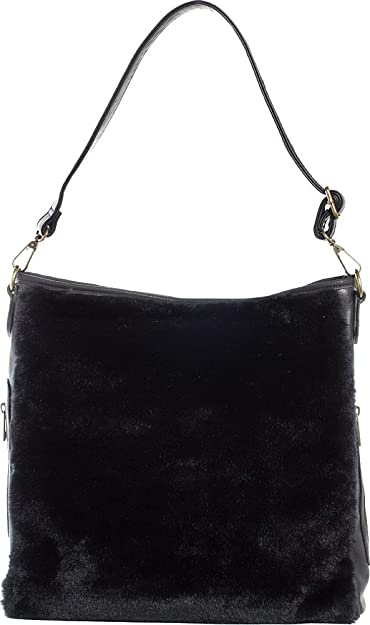 0a25afd951f2 Amazon.com  Sourpuss Brand - Black Faux Fur Sure - Hobo Purse  Shoes