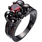 Bamos Jewelry Womens Red Lab Stone Skulls Ring Engagement Wedding Black Gold Plated Garnet Womens Ring Size 5-10