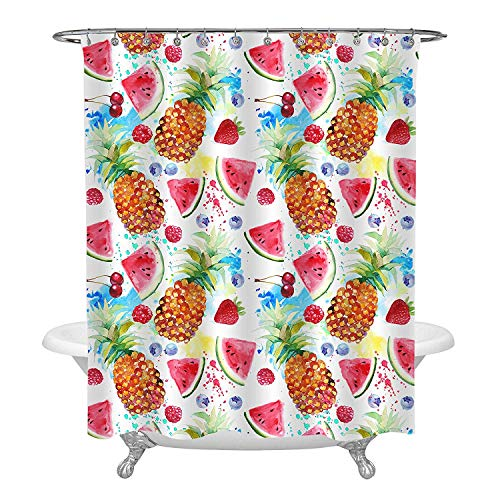 MitoVilla Colorful Fruit Art Deco for Bathroom, Watercolor Pineapple Watermelon Strawberry Cherry Painting Summer Shower Curtain, Vacation Gifts for Babies Kids, Polyester Fabric, 72 x 96 inches
