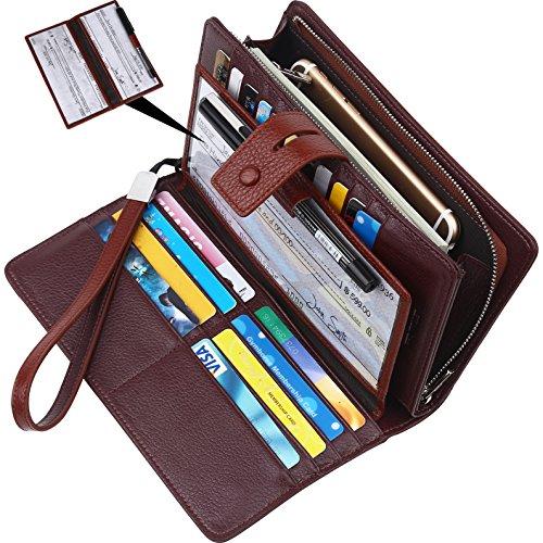 Wallet for women-RFID Blocking Real Leather checkbook wallet clutch organizer,checkbook holder(Coffee) - Leather Checkbook Cover Organizer Wallet