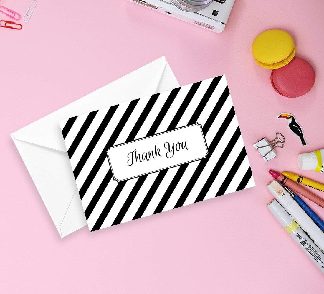 Retro Thank You Cards Bulk 36 Set Great for Wedding Dots and Stripes Thank You Notes Cards Baby Shower Bridal Shower and Business Navy Blue and Black 6 Chic Designs Baptism Graduation