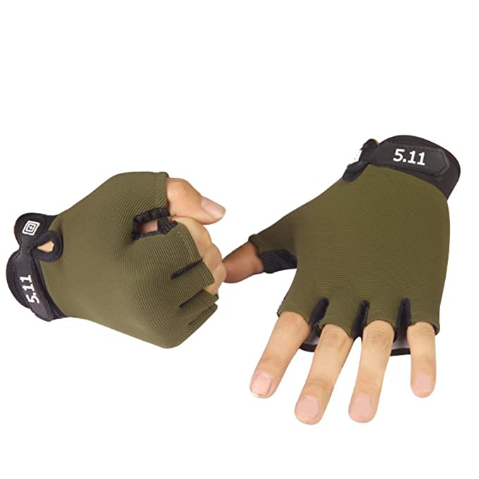 Greenery-GRE Cycling Gloves for Men, Non-slip Half Finger Riding Gloves Tactical Airsoft Gloves Breathable Shockproof Fingerless Bike Gloves Roller Skating Hunting Climbing Bicycle Sports Gloves