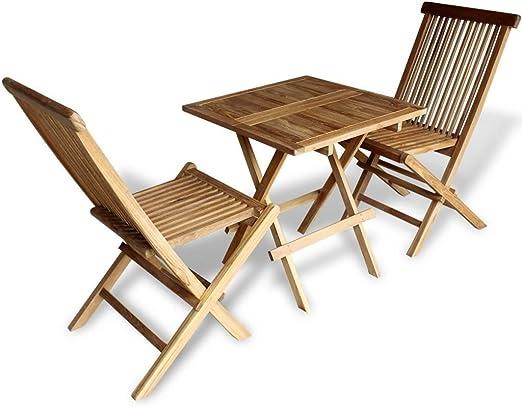 LD Teca 3 Piezas. Bistro Balcón Set Muebles de Jardín Mesa Plegable Silla Plegable Asiento Grupo: Amazon.es: Jardín