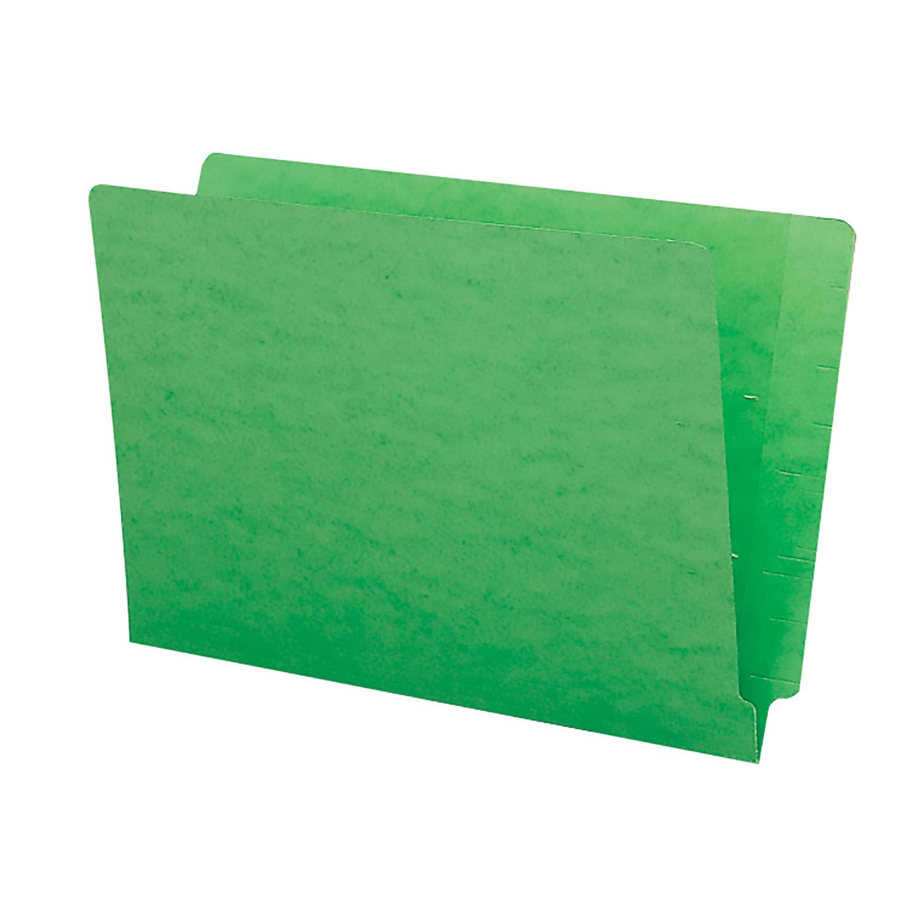 Smead End Tab File Folder, Shelf-Master Reinforced Straight-Cut Tab, Legal Size, Green, 100 per Box (28110) by Smead