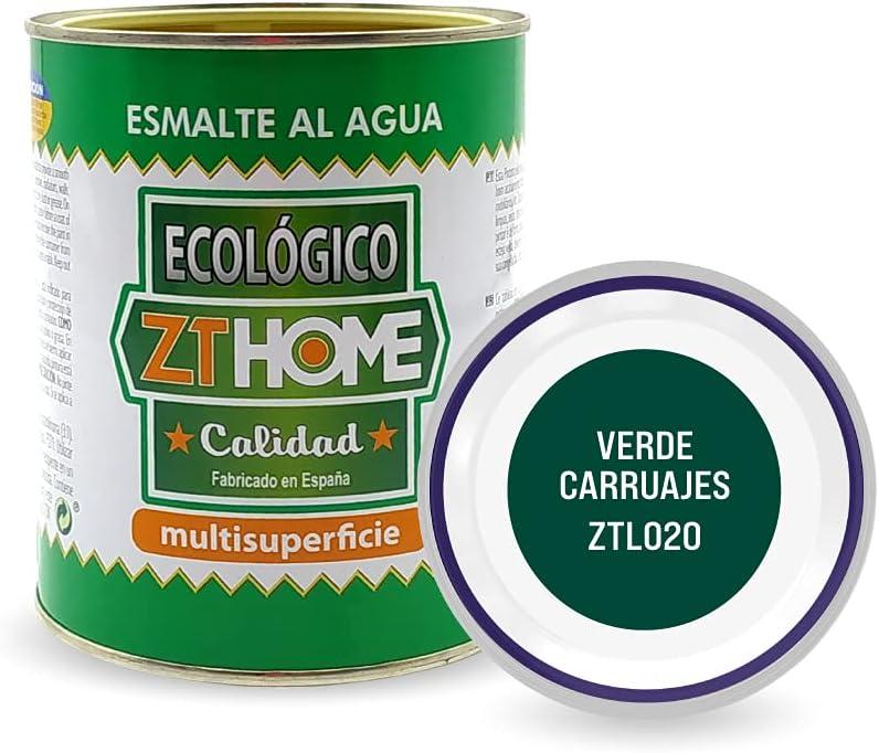 Pintura acrilica Ecológica al agua Verde Carruajes para madera, metal, radiadores, aluminio/Esmalte al agua multi superficie/cunas, muebles, azulejos, puertas para exterior e interior 750ml