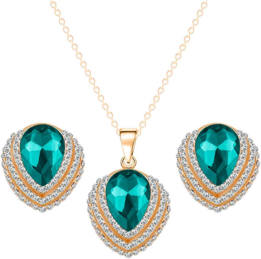 PEISHIHM Trendy Austria Crystal Water Drop Heart Earrings Necklace Jewelry Sets Gold Color Chain Jewelry for Woman Wedding