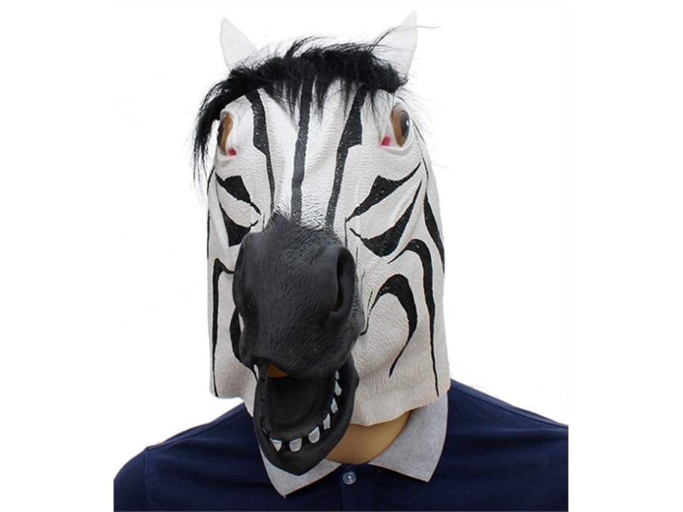 Hezon Happy Festival Halloween Latex Zebra Head Cover Mask Funny Tricky Mask for Masquerade Bar Party (White and Black)