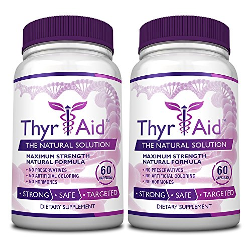 ThyrAid - #1 Thyroid Support - With Iodine, Kelp, Schisandra, Vitamin B12, Selenium, Ashwaghnada. Manage Hypothyroidism Symptoms, Support Adrenal Glands - 100% Money Back - 2 Bottles (2 Months Supply)
