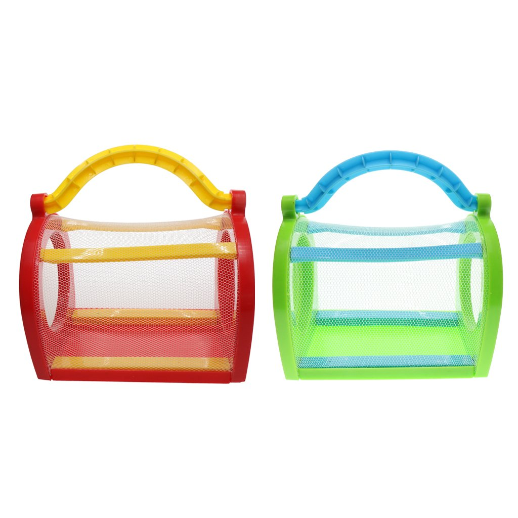 MagiDeal 2X Kids Bug Cage Backyard Exploration Critter Case Insect House Mesh Holder Summer Gifts Green + Red non-brand