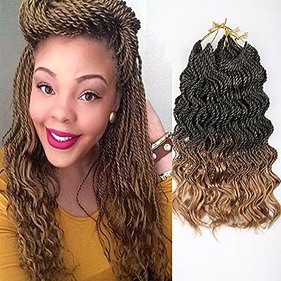 16Inch 35strands/pack 6packs/lot Wavy Ends Senegalese Twist Synthetic Crochet Curly Havana Mambo Braids Hair Extensions Black Brown Purple Light Brown Burgundy Pre-twist Hair