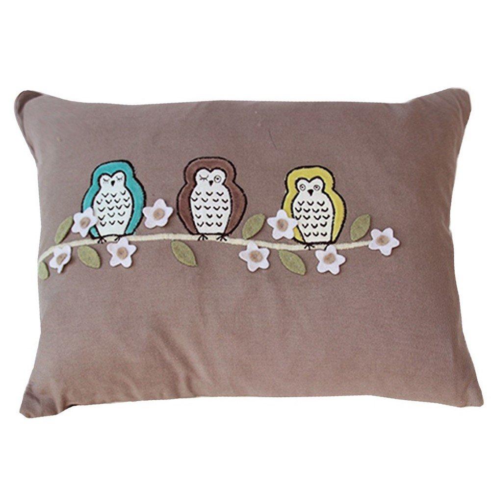 Vivai Home Taupe Floral Bird Hoot Hoot Rectangle 12x 16 Feather Cotton Pillow