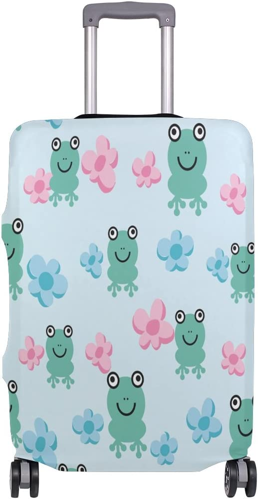 Luggage Protective Covers with Seamless Cartoon Frogs Washable Travel Luggage Cover 18-32 Inch