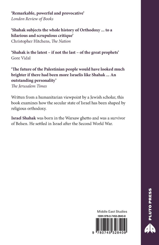 Jewish History, Jewish Religion: The Weight of Three Thousand Years (Get  Political): Israel Shahak: 9780745328409: Amazon.com: Books