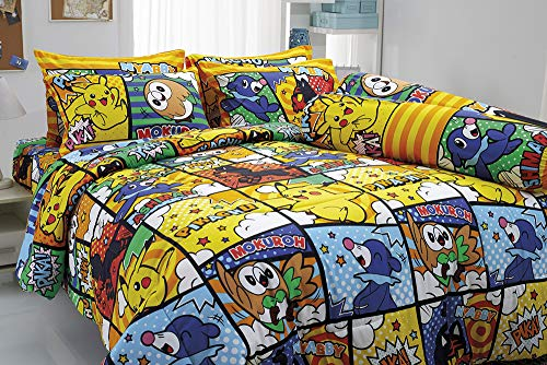 Pikachu Mokuroh Rowlet Ashimari Popplio Nyabby Litten Bedding Set, 1 Fitted Sheet, 2 Pillow Case, 2 Bolster Case, 1 Comforter 041 Set B+1 (Queen ()