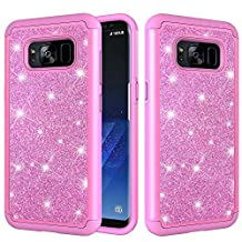 for Samsung Galaxy S8 Glitter Phone Case,QFFUN Soft Silicone Inner + Hard Plastic Back Hybrid Double Layer 2 in 1 Bling Shiny Skin Shell Shockproof Anti-scratch Mobile Phone Protective Cover for Samsung Galaxy S8 Case with Screen Protector - Pink