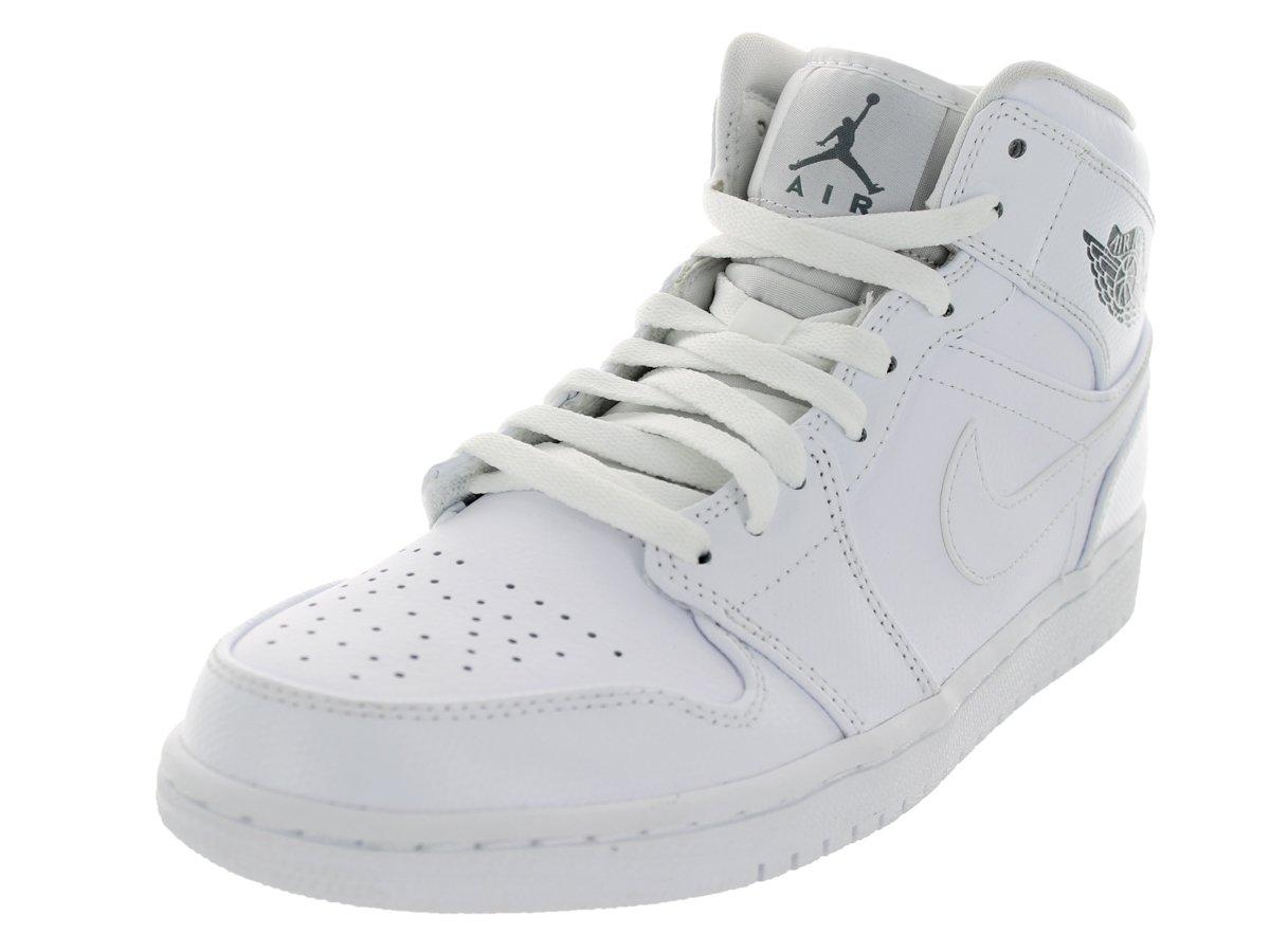 Compre un nuevo Nike Hombre Air Jordan 1 Mid Baloncesto Zapatos Blanco/Cool Gris-Blanco 654MI