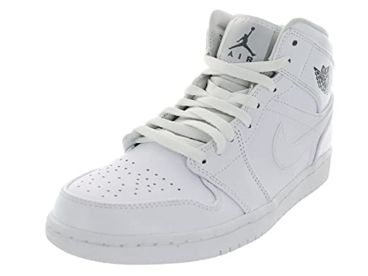 4c5ec3ebdc08 Image Unavailable. Image not available for. Color  Nike Men s Air Jordan 1  Mid White Cool Grey White ...