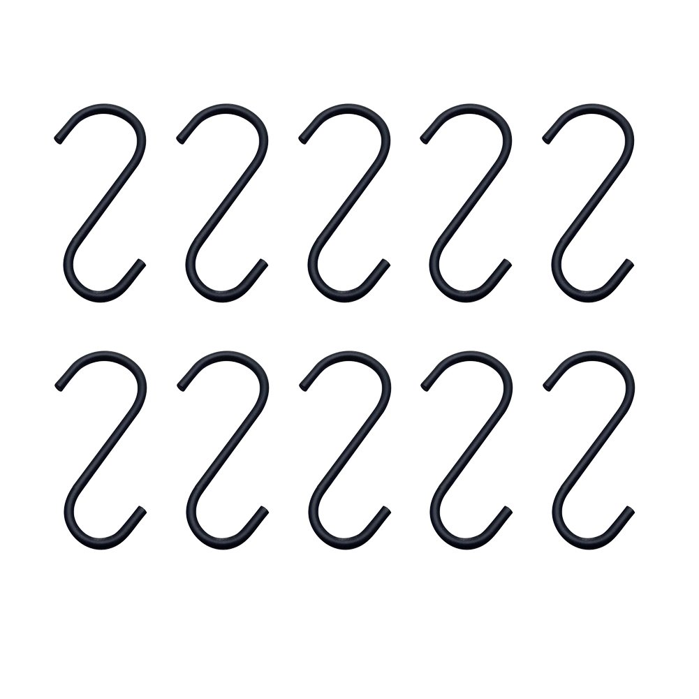 Whthteey 10 Pack Iron S Shaped Hanging Hooks Heavy Duty for Kitchen Bathroom Bedroom and Office Accessory Hooks 3.94 In Black