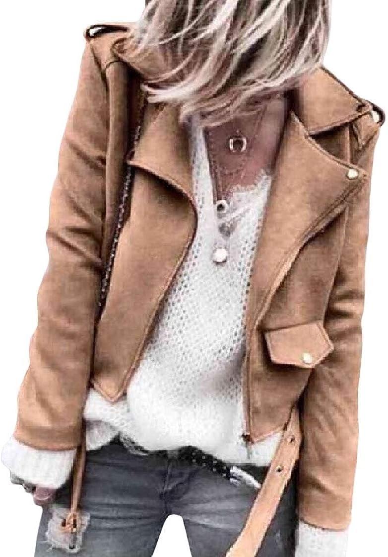 CrazyDay Womens Solid Autumn Short Faux Leather Zipper Lapel Jackets Coat