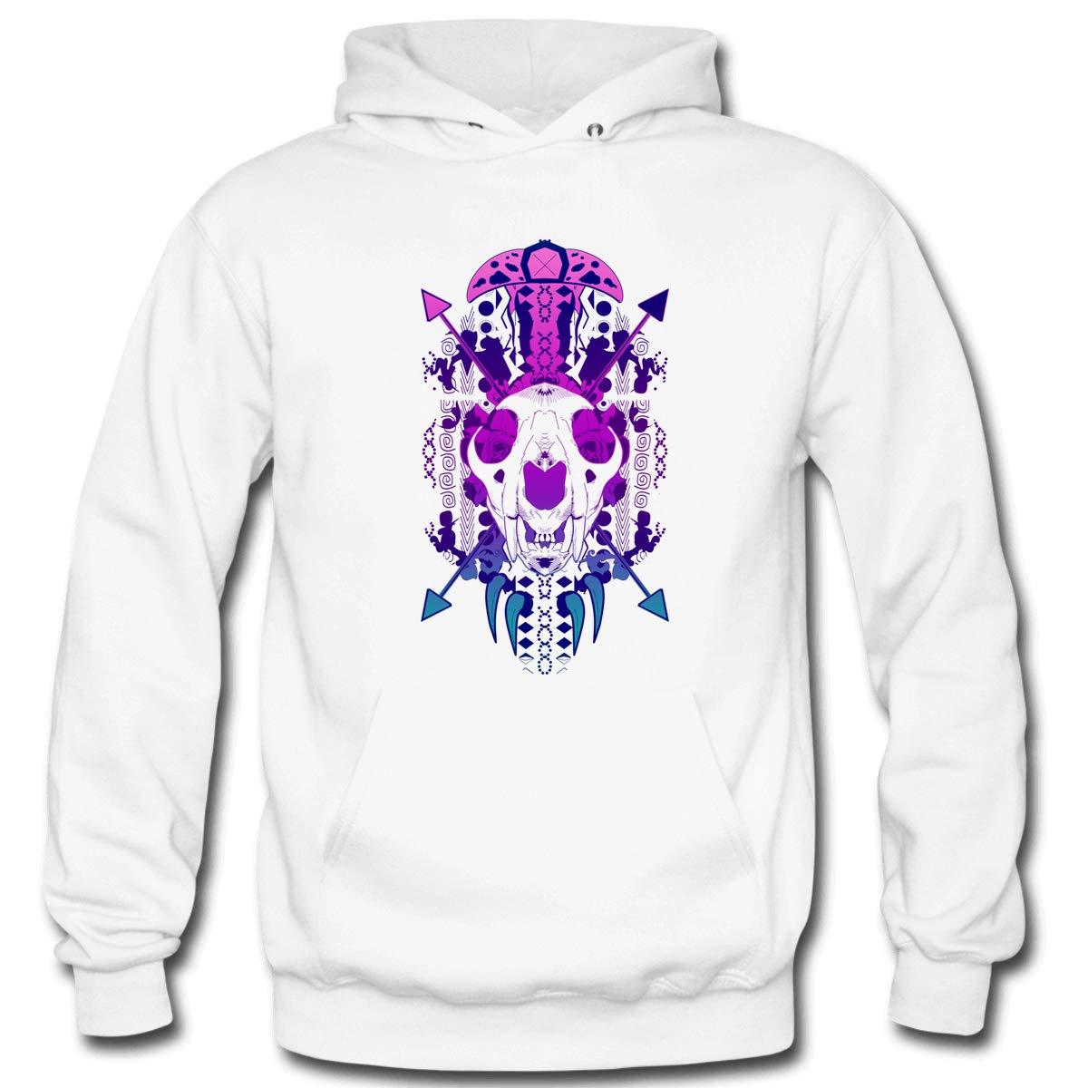 Mens Lion Skull Hooded Sweatshirt Funny Printed Pullover Hoodies Classic Long Sleeve T Shirt Tops