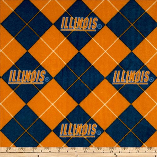 Fabric Stores Illinois (NCAA Fleece Fabric-University of Illinois Argyle)