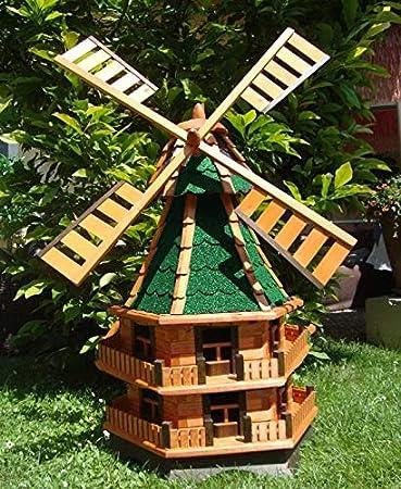 BTV 160er Molino de viento, molino de viento para jardín, Windmühlen Jardín, wmb140160gr de MS verde color verde musgo gris de madera claro con luz solar: Amazon.es: Productos para mascotas
