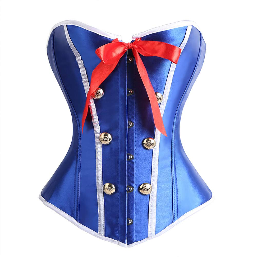 SUSHENYIHHY New Women Steel Bones Lace Up Steampunk Corset Sexy bluee Stewardess Bustier Overbust Slim Sweetheart Bodice Bustiers