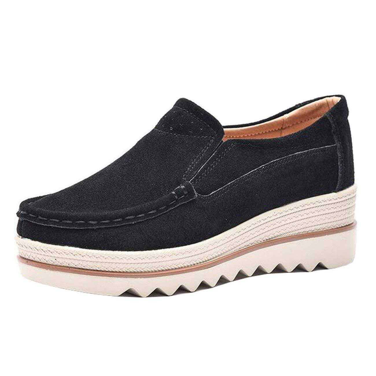 Fuxitoggo Damen Runde-Toe-Plattform Keilabsatz Loafers (Farbe   Schwarz Größe   5 UK)