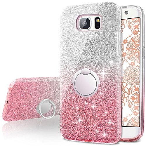 low priced 0d3c1 4d8b9 Galaxy S7 Edge Case,Silverback Girls Bling Glitter Sparkle Cute Phone Case  with 360 Rotating Ring Stand, Soft TPU Outer Cover + Hard PC Inner Shell ...