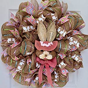 Easter Bunny Bonnet Deco Mesh Wreath 10