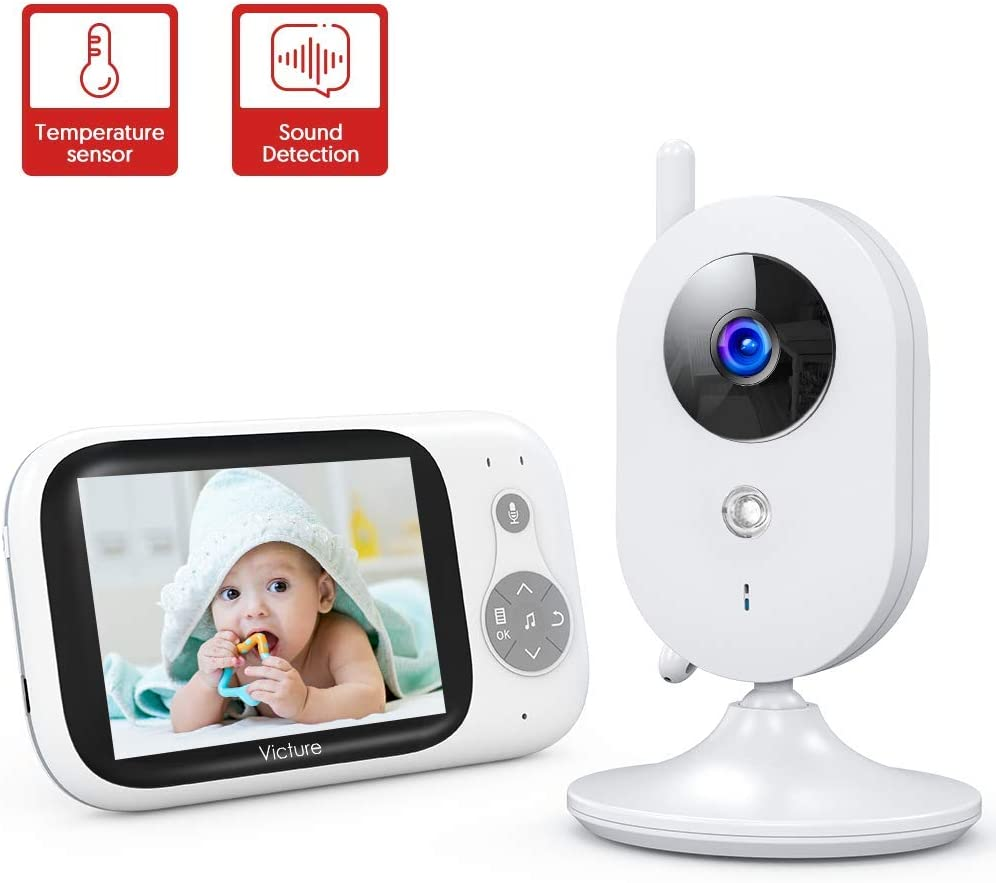 "Victure Baby Monitor,Video Baby Monitor with Camera and 2 Way Audio,Infrared Night Vision 3.2"" LCD Screen 2.4GHz Wireless Transmission Temperature Sensor Auto Wake-up VOX Mode 8 Lullabies Long Range"