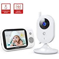 """Victure Baby Monitor,Video Baby Monitor with Camera and 2 Way Audio,Infrared Night Vision 3.2"""" LCD Screen 2.4GHz Wireless Transmission Temperature Sensor Auto Wake-up VOX Mode 8 Lullabies Long Range"""