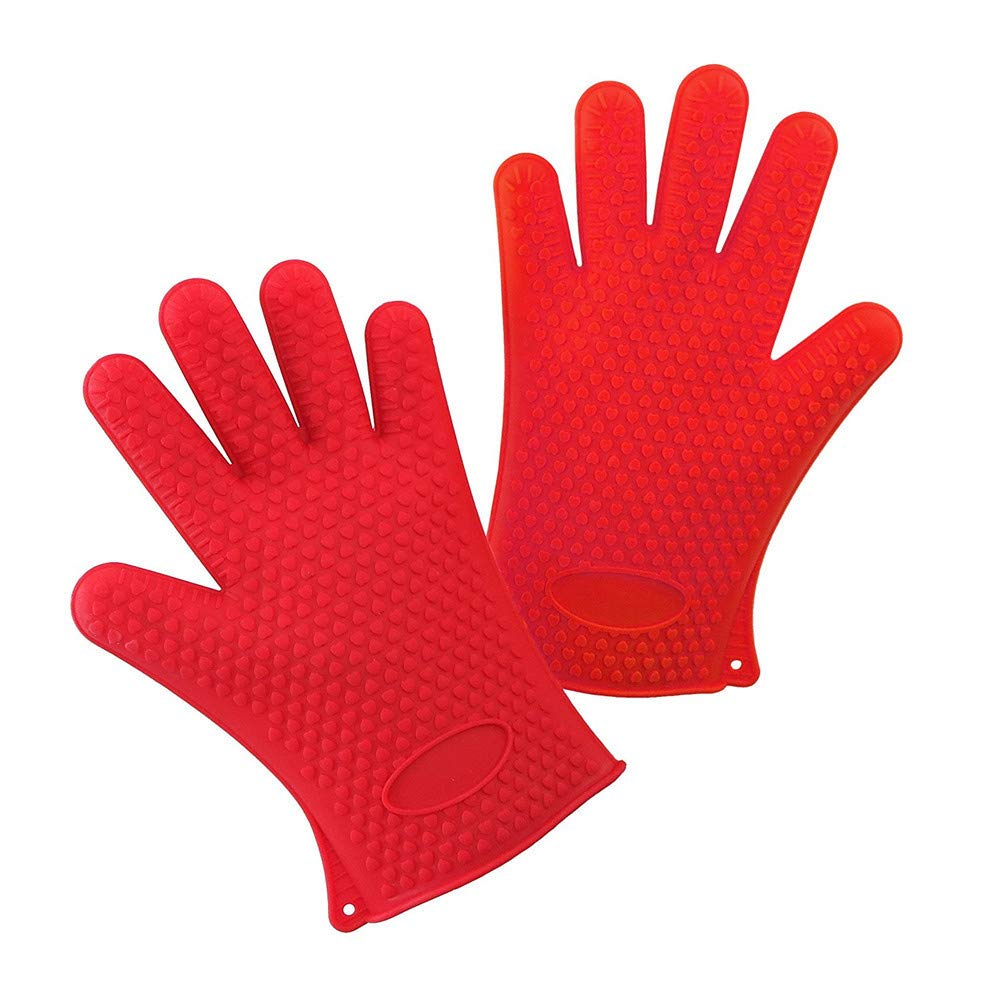 Unilive 1 Pair Heat Resistant Silicone Oven Gloves - Oven Mitts Microwave Gloves Waterproof Non-Slip for Indoor Outdoor Cooking Baking Barbecuing Camping Serving (Red)