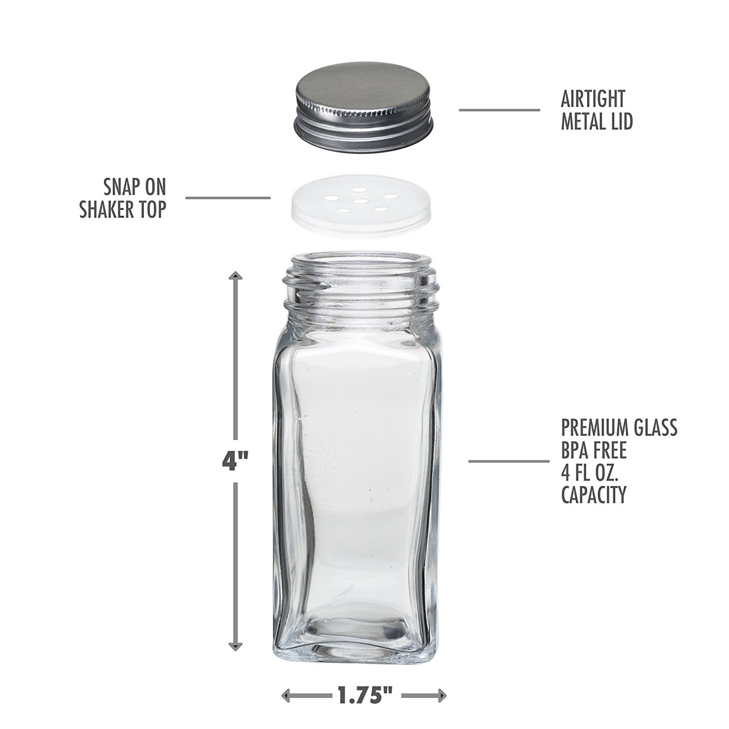 4 Ounce Capacity 6 Set of 6 pvspj46 Square Glass Spice Jars with Shaker Tops By Premium Vials Chalkboard Labels /& Pen Funnel and Airtight Silver Metal Lids